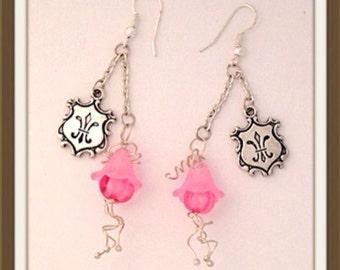 Handmade MWL one of a kind pink flower and fleur de lis charm earrings. 0105