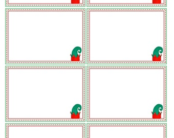 8 blank message cards, christmas elf props