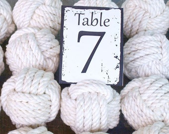 Coastal Wedding Knots cotton Rope 24 Table Number Holders for your Nautical Wedding Monkey Fist Rope Knots (w1)