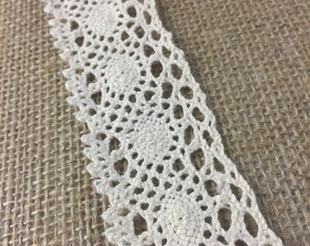 Ivory 100% Cotton Cluny Lace Trim, 1.75 inches, 3 yards