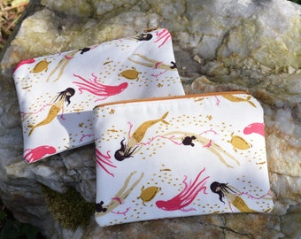 Mermaid Print Cosmetic Bag, Zippered Pouch, Purse Organizer