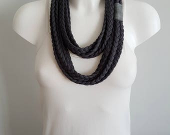 T-shirt scarf, t-shirt necklace, gray necklace, gray scarf, braided scarf, fabric scarf, fabric necklace