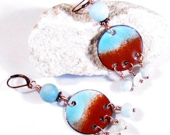 Boho earrings aqua and brown enamel artisan dangles