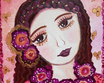 Esmeralda - painting - acrylic - canvas - face - child - flowers