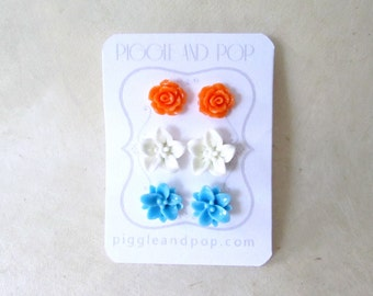 Flower Stud Earrings, Earring Stud Set, Orange White and Sky Blue, Colorful Summer Studs, Hypoallergenic, Resin Lotus, Lily, Rose Earrings