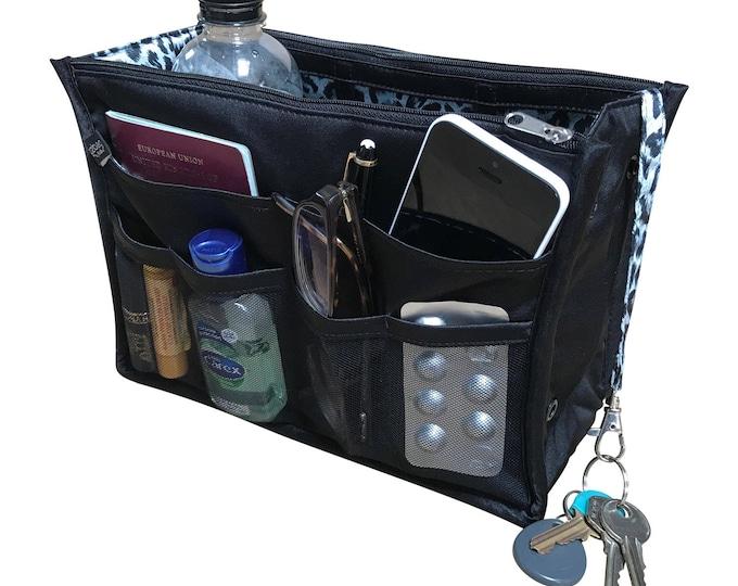 Luxury Purse ORGANIZER Insert, Purse Insert, Bag Organizer, Handbag Organizer, handbag organiser, Black Satin with Silver Lining