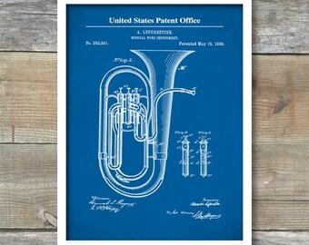 Patent Print, Tuba Print, Tuba Poster, Tuba Patent, Tuba Decor, Tuba Wall Decor, Tuba Wall Art, Tuba Blueprint, Tuba, Brass Instrument, P468