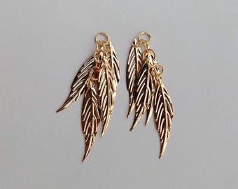 Chain with four long leaf gold - set of 2