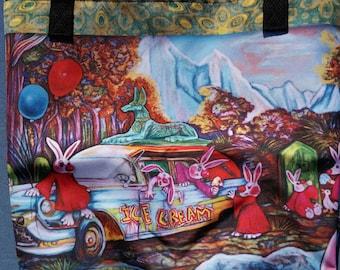 Gothic tote bag,hearse,bunny,rabbit,art,fantasy,illustration,book,bag,market,funny,christmas gift,cute,clowncoffins