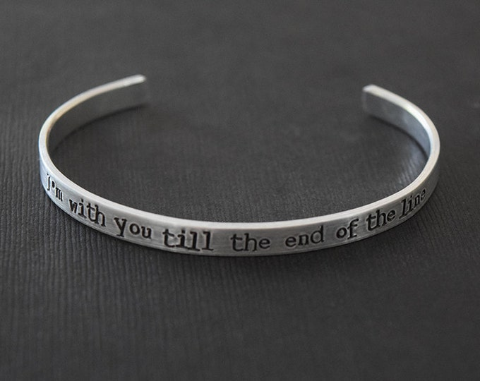 Featured listing image: I'm with you till the end of the line - Captain America Inspired Aluminum Bracelet Cuff  - Bucky Barnes - Winter Soldier - Hand Stamped