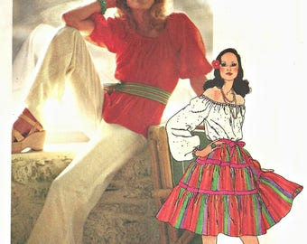 Gypsy skirt and Blouse Simplicity 5749 Pattern,  Palazzo Pants 1970's Size 10 Bust 32