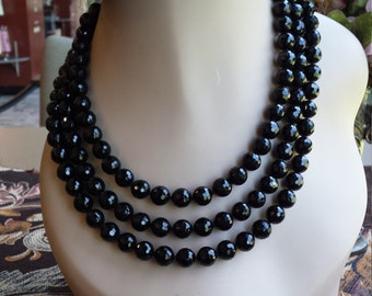 three strand faceted black onyx necklace