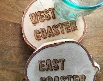 Large East Coaster - West Coaster Coaster Set, Set of 2 or 4, Wood Coasters, Coffee Table, Living Room Decor