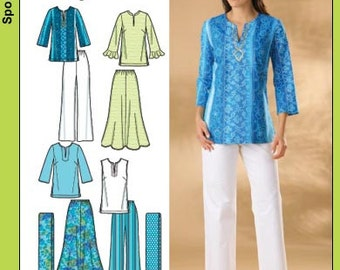 OUT of PRINT Simplicity Pattern 4149 Misses or Plus Size Skirt, Pants, Tunic Top and Scarf