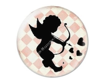 resin cabochon mounted on a stick 25 mm Valentine Cupid 1