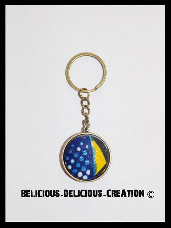 Original key! WAX! fabrics and metal bronze long 8.5 cm belicious delicious creation