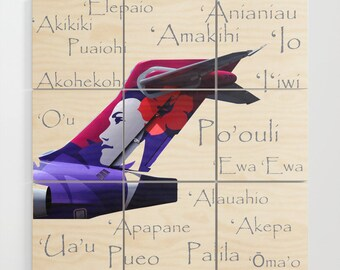 Hawaiian Airlines Boeing 717 with Aircraft Names - Multi-Piece Wood Wall Art