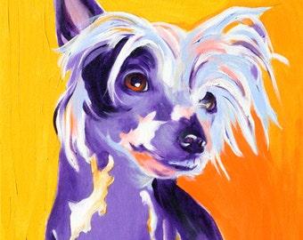 Chinese Crested, Pet Portrait, DawgArt, Dog Art, Chinese Crested Art, Pet Portrait Artist, Colorful Pet Portrait, Art Prints, Crestie Art