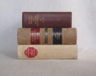 Decorative Book Set, Book Bundle in Brown and Beige, Farmhouse Books, Primitive Decor, Brown Decor, Shabby Books, Rustic Books, Beige Decor
