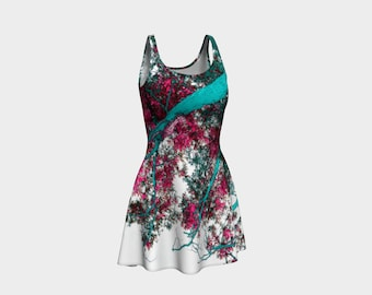 BLOSSOM  Flared Dress Skater Photo-Trees-Nature-Turquoise-Pink- Clothes Women Teen Clothing Wearable Art Clothes XS S M L