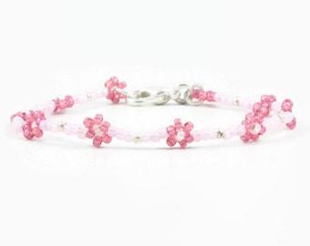 Girls Pink Bracelet - Daisy Chain Bracelet - Beaded Jewelry - Seed Bead Bracelet - Children's Jewelry - Flower Bracelet