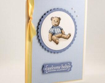 Handmade Baby Card - New Baby Card - Handmade Welcome Baby Card -  Congratulations Baby Card - Teddybear Baby Card
