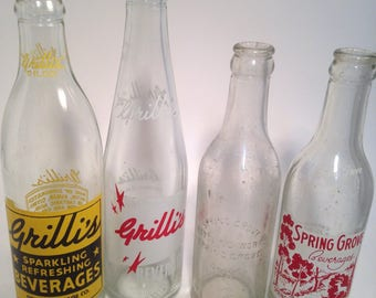 Spring Grove and Grilli's Soda Bottles, Pop,  Collection,  7 oz, 8oz and 12oz, Minnesota, Detroit, FREE SHIPPING