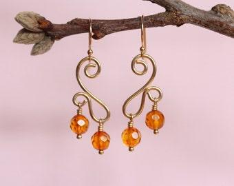 Amber Earrings, 14K Solid Gold Earrings, 14K Yellow Gold Amber Earrings, Gold Dangle Earrings, Gold Wire Earrings, Gold Swirl Earrings