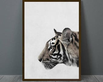 Frame Flower, Tiger Print, Tiger Wall Decor, Tiger Poster, Animal Print Wall Decor, Tiger Digital Print, Tiger Nursery Print, Tiger Wall Art