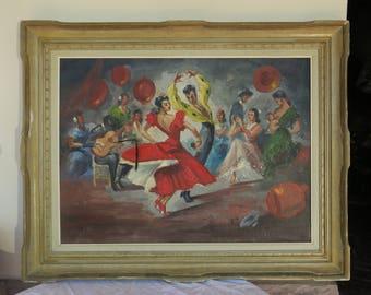 grande peinture ancienne danseurs de Flamenco Espagnol, signé, great old Spanish Flamenco dancers painting,
