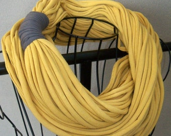 """SALE!  15% off!  Infinity Scarf - CHUNKY Gold Nugget Color - Approx. 28"""" - with pewter grey band - 30 strands"""