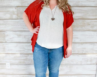 Red Cardigan, Slouch Cardigan, Womens Cardigans, Short Sleeve Cardigan, Cardigans for Women, Red Sweater, Loose Sweaters, Heidi and Seek