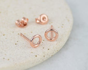 Rose Gold Open Circle Geometric Stud Earrings / Studs 925 Sterling Silver  - Dainty 6mm wide Size, Pair