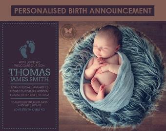 Birth Announcement, Custom Printable Birth Announcement, Boy Birth Announcement, Blue Brown Birth Announcement, Baby Boy, Boy Birth