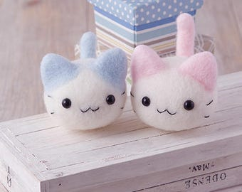 DIY Hamanaka handmade Wool Felt kit Cute kitty (Can make 2) -  Japanese kit package