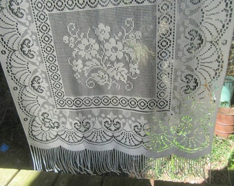 Single Lace Curtain Panel French Vintage Cream Fringed Window Door