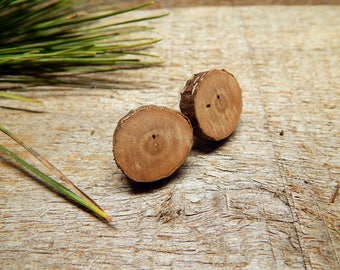 XXL Rustic Cherry Twig Wooden Stud Earrings by Tanja Sova