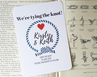 Nautical Themed Save The Date, Nautical Wedding, Tying The Knot Save The date, Wedding Stationery, Budget Invites, Budget Save The Date
