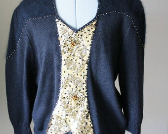 P. A. International Black Gold Sequined Sweater- Scalloped Front, Size XL, 80s Glam