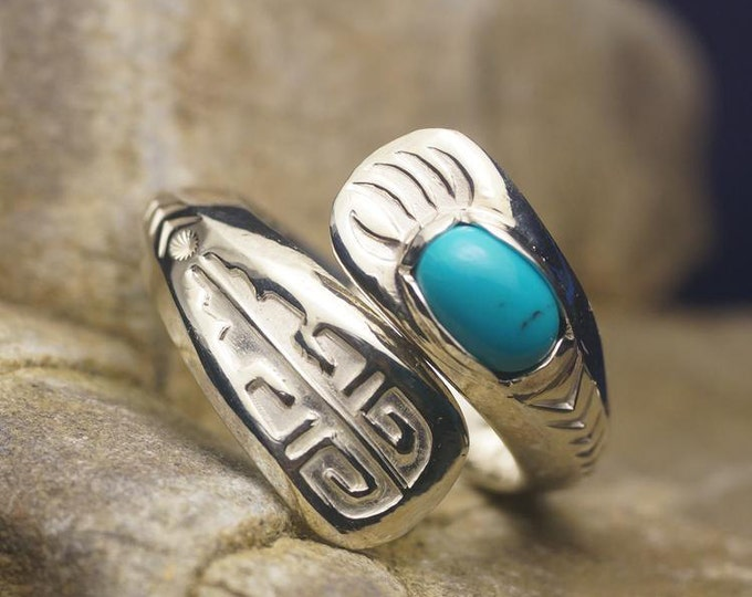 Silver Wrap Ring | Adjustable Ring | Spiral Silver Ring | Dainty Silver Ring | Turquoise Ring | Gemstone Silver Ring | Ethnic Ring Couple