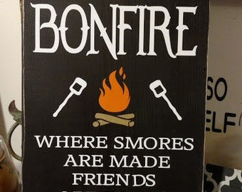 A Beautiful  welcome To Our Bonfire sign