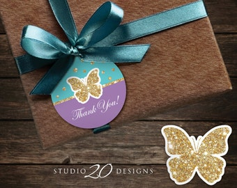 Instant Download Teal Purple Butterfly Thank You Tags, Printable Teal Purple Gold Glitter Baby Shower Gift Tags, Butterfly Favor Tags #61D