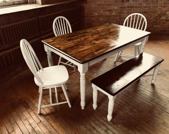Distressed Farmhouse Table with Matching Bench