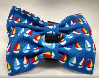 Blue Sailboats - Bow Tie or Flower