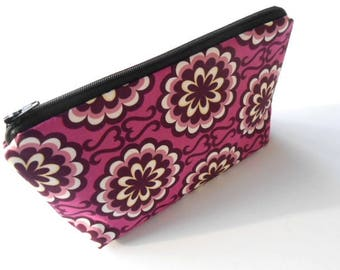 Large Cosmetic Bag Flat Bottom Zipper Pouch ECO Friendly Padded Bag Purple Orchid