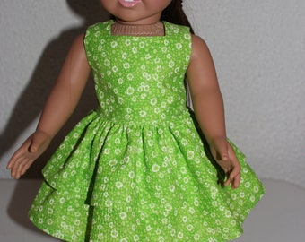 Doll Dress,18 inch Doll Dress,Green and White Doll Dress