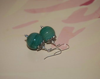 Green Natural Agate Stone Earrings