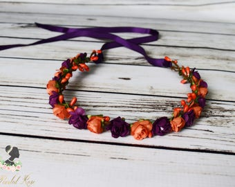 Handcrafted Dark Orange and Deep Purple Flower Crown - Fall Wedding Accessory - Fall Flower Girl - Autumn Flower Crown - Adult Fall Headband