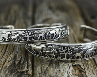 2 SIZES AVAILABLE: Sterling Silver cuff style Bracelet with scenic engraved detailed Horse scenes
