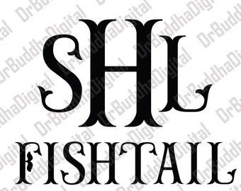 Sale! Fishtail Monogram Font SVG Collection - Fishtail Alphabet DXF - Mermaid Monogram Clipart - File for Silhouette Cameo or Cricut